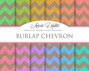 Chevron Burlap Digital Paper. Scrapbooking Backgrounds, Linen patterns for Commercial Use. Fabric textures. Clipart Instant Download.