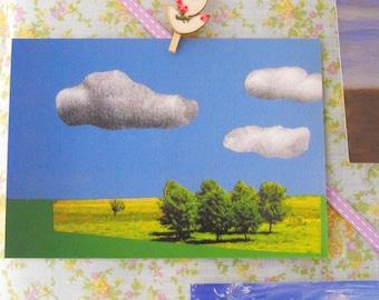 Landscape collage postcard. Wall art. Photo collage. Landscape art. Collage art. Photo art.