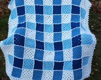 Blue Gingham Check Throw