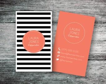 Business Card, Black & White Stripes (Digital File)