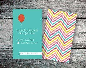 Instant Download Mommy Calling Card, Retro Business Card, Red Balloon & Stripes (PSD, PDF)