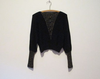 70s 80s Cropped Deco Disco Dolman Sweater