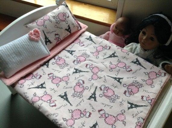 Doll Bedding Set Paris Eiffel Tower Pink Poodle By