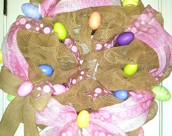 Made to Order, Easter wreath, Spring wreath, burlap Easter wreath, burlap Spring wreath, easter egg wreath