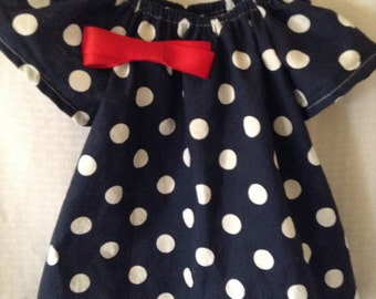 Polka Dot Girls Peasant Dress with Bow
