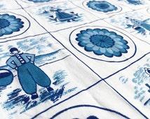 German 70s vintage fabric 50cmx100cm: Panda Blau