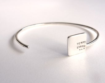 Custom silver bracelet, free time, message, adjustable