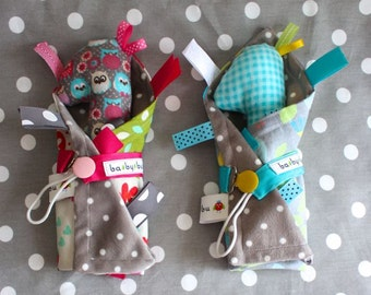 Twin Baby Gift Bundle for two! Tag Blanket, Pacifier Clip, Rattle Giraffe!