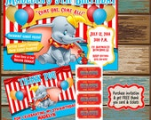 Dumbo Birthday Invitations with free thank you card and tickets with purchase. (digital file)