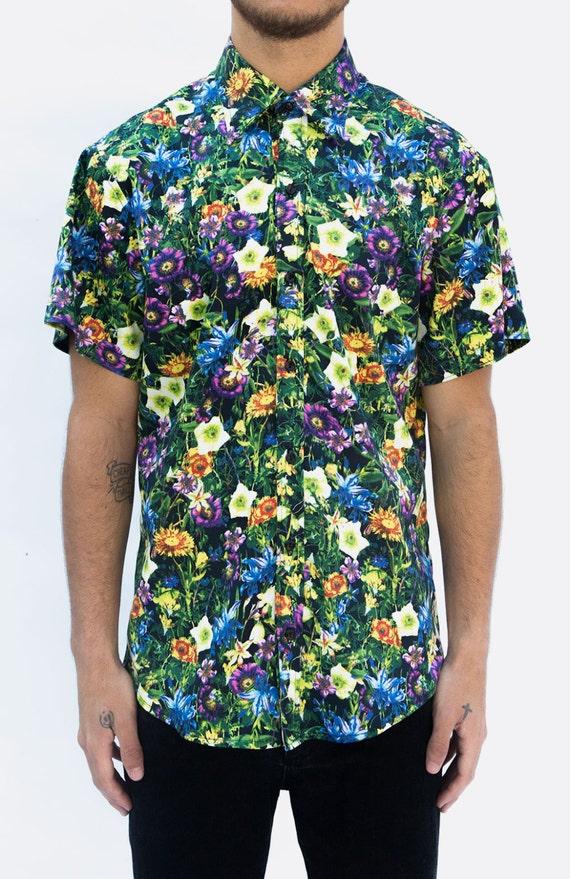 Wonderland floral print mens short sleeve button by for Mens short sleeve floral shirt