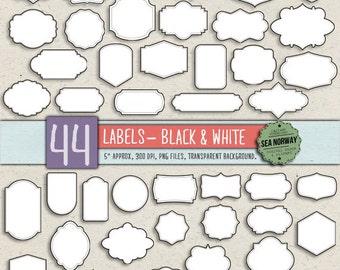44 digital labels, digital frames, digital clip art, transparents labels, frame clip art, frame clipart INSTANT DOWNLOAD