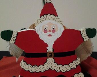 Handmade Hand-Painted Santa Bread Basket