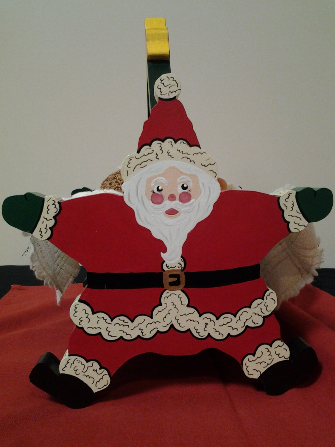 Handmade Hand-Painted Santa Bread Basket