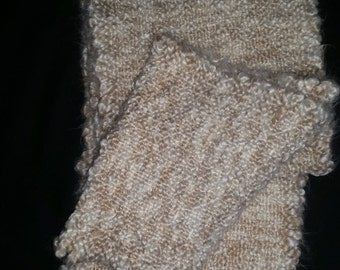 Hand woven plush scarf with hand twisted fringe, one of a kind, hand made