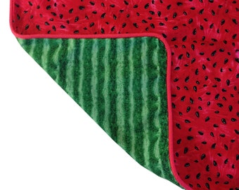 Fun watermelon cushion, red with rind back and watermelon piping 45x45cm