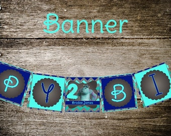 Blue Chevron Monsters Inc Banner // Monsters Birthday Banner // Monsters Inc Party // Monsters Inc// DIY Printables