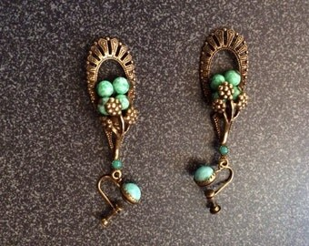 Vintage womens turquoise and brass earrings