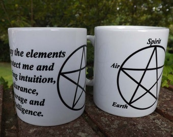 Coffee mug with pentagram design , pentacle mug , pagan-design coffee mug