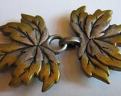 Leaves Silver and Gold tone Cloak Clasp SCA LARP Renaissance Medieval