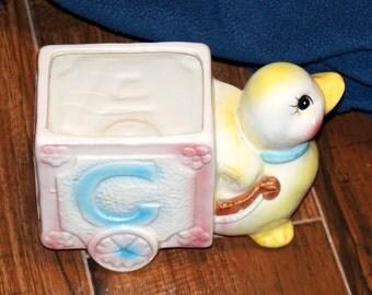 Duck Pulling ABC Alphabet Block Cart Ceramic Planter