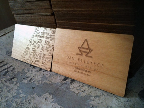 Items similar to laser engraved wood business cards on etsy for Laser etched business cards