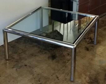 "John Mascheroni for Vecta Style ""Tubo"" Chrome Tubular Square Coffee Table"