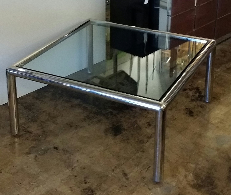 "Tubular Chrome Coffee Table: John Mascheroni For Vecta Style ""Tubo"" Chrome Tubular"