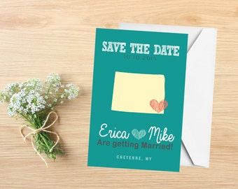 Save the Date, State Save the Date Postcard, Destination Wedding, Wedding Invitations, Wyoming, Stationery, State Map