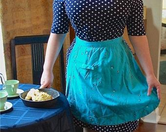 Vintage Turquoise Cotton Half Apron