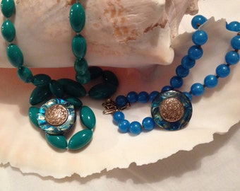Brass Disc Vintage Earrings with Green Bead Necklace /Blue Bead Necklace! Free Shipping!