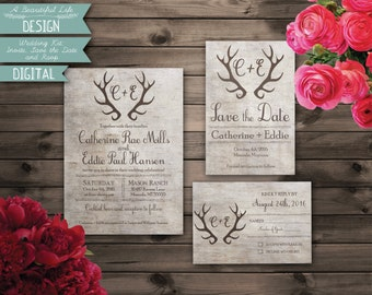 Printable Wedding Kit - Antlers and Birch - Digital File - Invite, Save the Date, RSVP Card - Customizable
