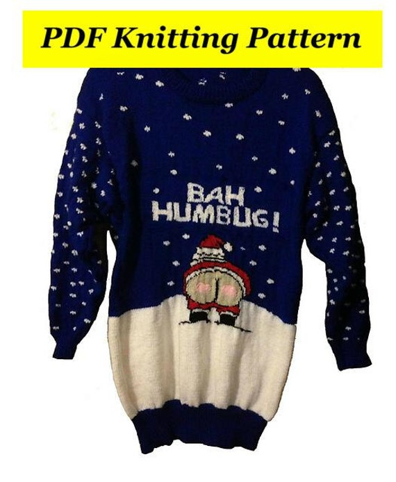 Knitting Patterns For Children s Christmas Jumpers : Childrens & Adults Christmas Cheeky Naughty Santa Bah Humbug