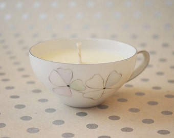 Floral design, bergamot scented, eco soy wax, teacup candle