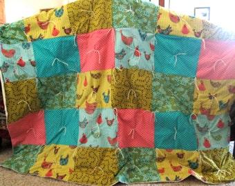 Pink, Blue and Green Bird accented Handmade Patchwork Quilt