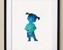 Monsters Inc Boo Watercolor Painting Nursery art Wall Art Wall Decor Art Home Decor Wall Decor