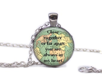 Love Necklace Map Jewelry Travel Necklace World Map Necklace