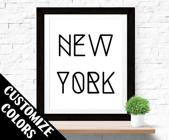 "Digital Download Printable Wall Art ""New York"" Typography Poster Inspirational Quote Word Art Wall Decor Modern Art Minimalistic Black Print"