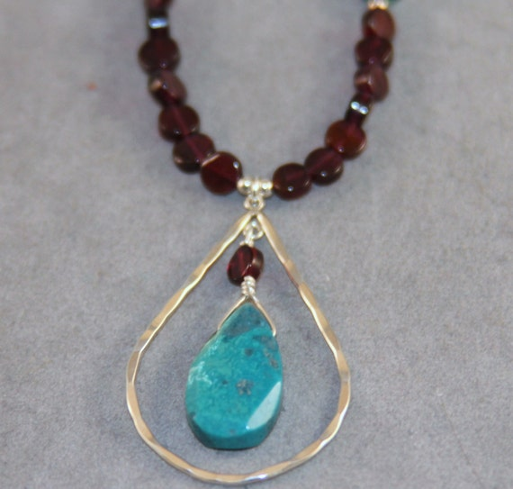 garnet and turquoise teardrop necklace