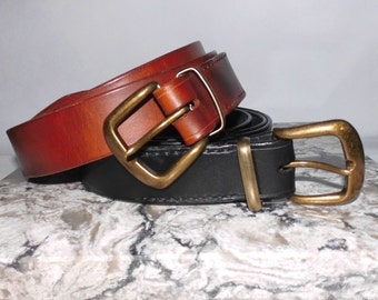 "Leather Belt Custom Handmade 22"" to extra long 66"""
