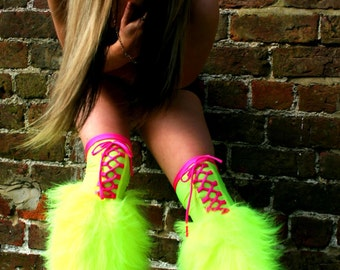 Fluffy furry legwarmers boots gators neon plain faux fur lots of colours rave punk goth cozy plur hussiz laced