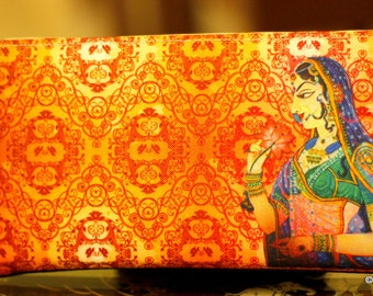 Orange Clutch, Faux Leather Purse,Traditional Indian Woman Digital Print