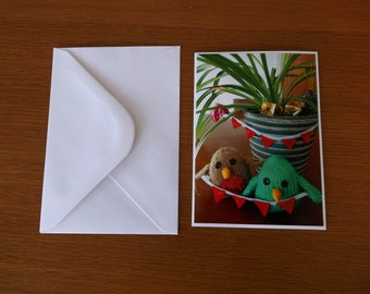 Deck the Spider Plant with Reams of  Bunting - Pack of 5 Christmas Cards