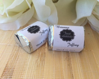 Personalized Wedding Candy Wrappers, just married favors, chalkboard wedding favors, candy bar wrappers, just married wedding favors