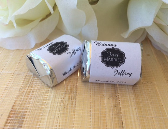 Personalized wedding candy wrappers just married favors for Personalized chocolate wrappers template