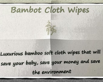 """10 Bamboo """"Bambot"""" 10x15cm Cloth Wipes Baby Reusable Eco & 2 Waterproof Purses"""