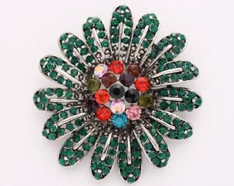 Emerald Green Brooch Crystal Green Flower Broach Colorful Jewelry