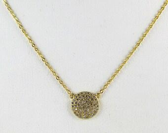 CZ DIsc Necklace , Cubic Zirconia/Gold vermeil