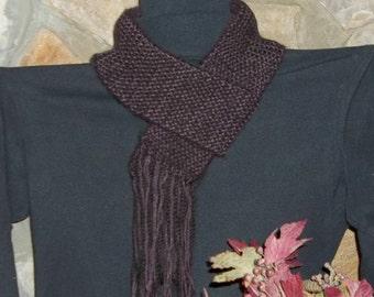 100% Alpaca with soft USA acrylic Scarf--Black/Purple--Handmade--Fringe!