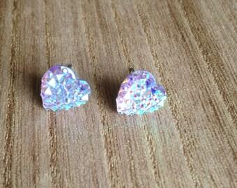 Iridescent Heart Button Earrings