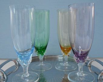 Set of  4 Vintage Harlequin Tall Glasses - Bubbles, Ice Tea or Lemonade   #10028